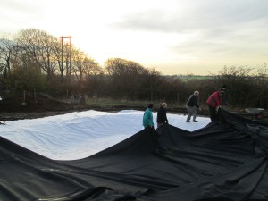 laying out the pond liner Photo by Fred Izzett